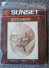 """Vintage '81 Sunset Stitchery 2206 Brother Teddy and Me 16"""" x 20"""" Kit #1371 S"""