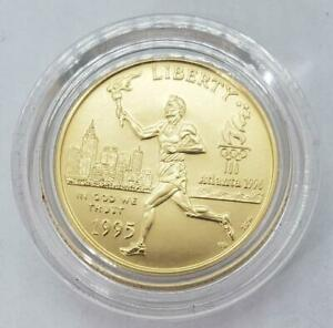 1995 W US $5 Gold Olympic Coin BU Torch Runner orig capsule mnt 14675 L10395