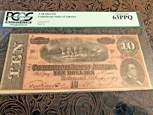 1864 Confederate $10 Bank Note Choice new 63PPQ PCGS