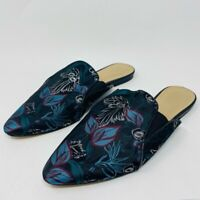 Saks Fifth Avenue Womens 9.5 M Mule Flat Shoes Green Blue Fabric Floral Slip On