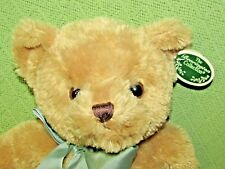 "GUS Bearington Collection 17"" Teddy Plush Bear ORIGINAL Tag Tan Green Bow Soft"