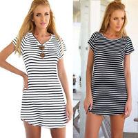 Women Casual Dress Crew Neck Short Sleeve Striped Loose T-Shirt Mini Dress FO