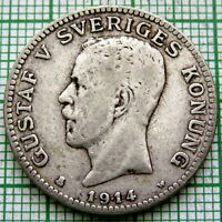 SWEDEN GUSTAF V 1914 W 1 KRONA, SILVER