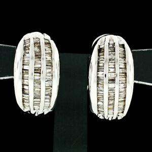 14k White Gold 1.35ctw 3 Row Channel Set Baguette Diamond Hoop Huggie Earrings