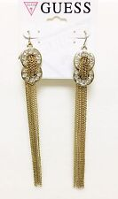 NEW GUESS GOLD TONE,CHAIN DANGLE,CRYSTALS,FISH HOOK LONG EARRINGS