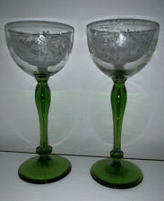 Tall Uranium Drinking Glasses x 2 With Etched Pattern. Excellent Condition