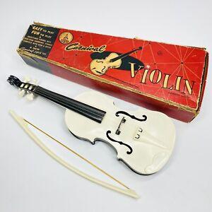 Vintage Antique Toy Carnival Violin Fiddle Plastic Instrument Original Box (MM)