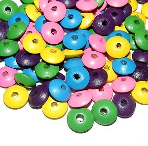 WL359 Assorted Pink Yellow Green Purple Blue 14mm Rondelle Wood Bead Mix 90gm
