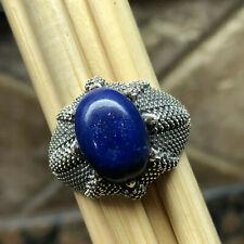 Genuine Blue Lapis Lazuli 925 Solid Sterling Silver Men's Ring sz 8