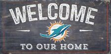 "Miami Dolphins Welcome to our Home Wood Sign - NEW 12"" x 6""  Decoration Gift"