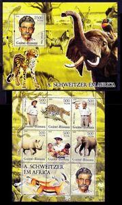 Nobel Peace Dr. Schweitzer Elephant Animals Birds Guinea Bissau 2005 MNH MS+SS