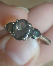 Sterling Silver Mystic Topaz Oval Cut with Heart Accents Ring Size 8