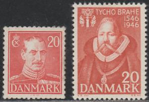 Denmak 1942-46 SC# 282, 300 - King Christian X - Birth of Brahe  M-H - Lot # 006