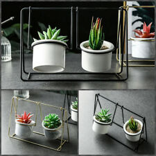 Ceramic Marble Flower Pots With Metal Duo Swings Succulents Planter Table Decor