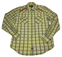 Elwood Men's Western Pearl Snap Navy/Blue/Olive/Green Long Sleeve Shirt Sz XL
