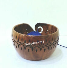 Brown Wooden Crafted Yarn Storage Bowl with Carved Holes