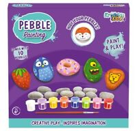 Children Kids Pebbles Painting Set Art & Craft Paint Your Own Pebbles Kit Gift