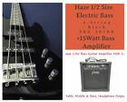 1/2 Haze 4-String Electric Bass Guitar,Black +15W Amp. +Free Gig Bag |SBG-387BK| for sale