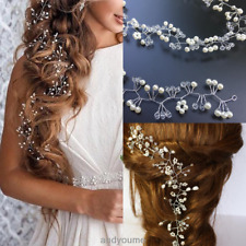 Womens Pearl Wedding Hair Vine Crystal Bridal Accessories Diamante Headband 35cm