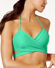 NEW Sundazed Aqua Solid Simone Halter Wrap Underwire Bikini Swim Top size 36 C