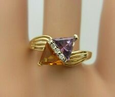 14K Yellow Gold Amethyst Citrine and Diamond Ring 1.22 ct