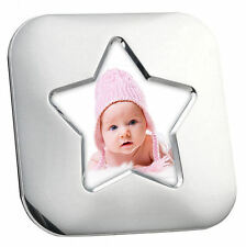 "Personalised Silver Plated, Star Square 4"" x 4"" Baby Photo Frame, Engraved Gift"