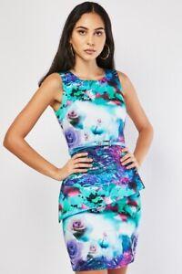 NEW Blue Green Floral Digital Print Dress 8 Evening Party Peplum Stretch Belt