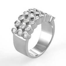 1.30Ct Men's Round Natural Diamond Ring Wedding Band 14k White Gold VS1 SZ 11.5