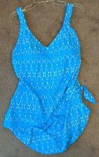 Maxine Of Hollywood Women's Side Tie Sarong Wide Strap Swimsuit One Piece  NWT