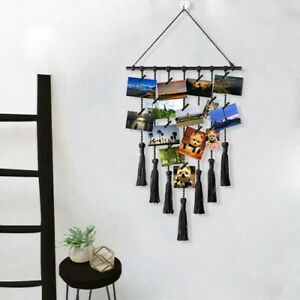 Wood DIY Photo Display Frame Macrame Wall Pictures Hanging + 25 Wood Clips