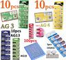 100pcs AG4 AG3 AG10 AG13 CR2016 CR2032 3V Watch Button coin Cell Battery 1.55V