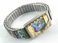L.A. Express Ladies Abalone Shell Mother of Pearl Stretch Band Wrist Watch
