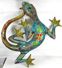 Lizard Wall Art w/Jewels &Mirrors blue & gold Home Decor