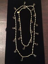 "VTG J CREW Necklace Gold Beads Faceted Smoky Quartz Crystal Teardrops 45"" EUC"