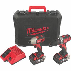 Milwaukee Cordless Drill & Driver Twin Pack Brushed M18 BPP2Q-402C 2x 4.0Ah