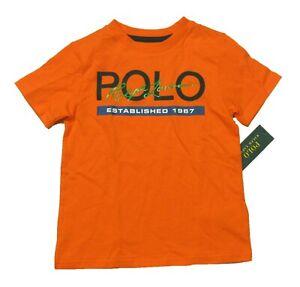 Polo Ralph Lauren Boys Orange Logo Script Graphic Short Sleeve T-Shirt