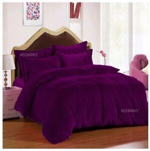 5 PC Purple Full Plain Velvet Duvet Cover / Quilt cover/ Comforter cover Set