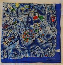 Chagall Scarf Art Institute of Chicago 100% Silk Square Blue Judaica Windows