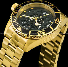 Invicta Pro Diver Skull Automatic NH35A Gold IP Exhibition Case Back 200M Watch