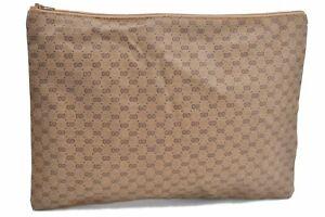 Authentic GUCCI Micro GG PVC Clutch Bag Brown E2425