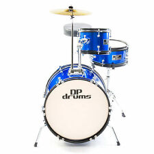 Blue Kids 3 Piece Junior Drum Kit Complete Beginner Package + Cymbals Stool New