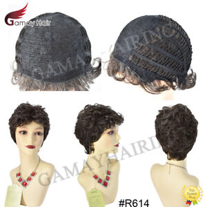 Short Wavy Shaggy Layered Wigs for Women Premium Synthetic Brown with Gray Hair