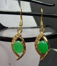 Gold Plate Icy Green JADE Earrings Earrings Cabochon Diamond Imitation 322650