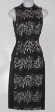 H&M Ladies Sleeveless Jacquard Weave Fitted Dress Printed Pattern Black Two (2)
