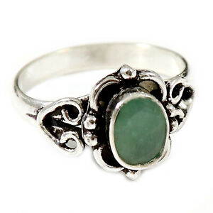 Emerald Faceted Solid 925 Sterling Silver Solitaire Ring Jewelry GESR186N