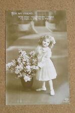 Vintage Postcard: Greeting Card Friend, Girl & Vase of Flowers, Schwerdtfeger