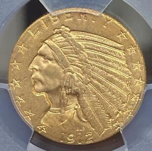 1912 Gold $5 Indian Head Half Eagle PCGS MS62 Shield