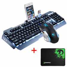 GB Wired LED Backlit Usb Gaming Keyboard Metal + Gamer PC Mouse Sets + Mouse Pad