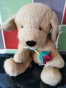 Russ plush cuddly toy Dog with rose new with tags