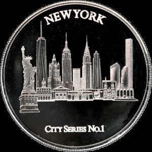 1 oz Silver Round New York City Series No.1 Mid-States Recycling & Refining .999